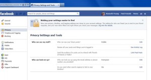 "Dad's FB privacy settings ""Public"""