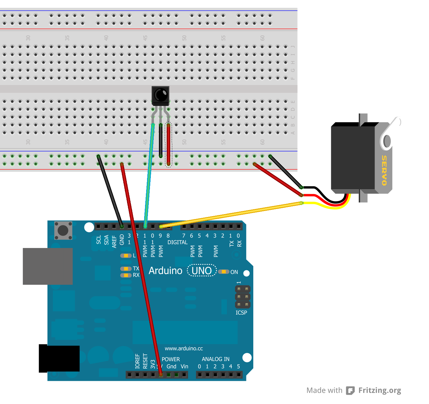Irlib tutorial part 2 controlling a servo using an ir for How to control servo motor