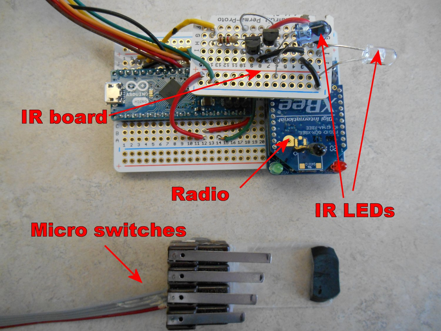 Transmitter with IR emitters and microswitches